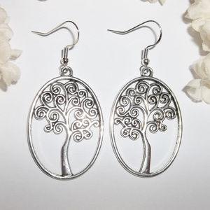 Silver Tree of Life Earring Set Dangle NWT 5026